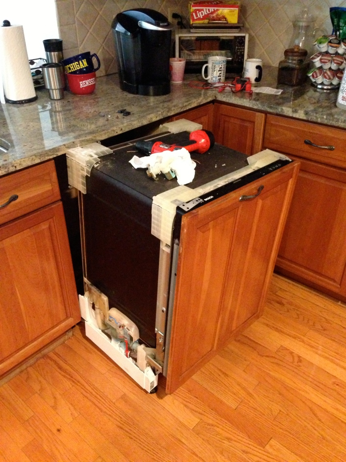 Dishwasher out from counter